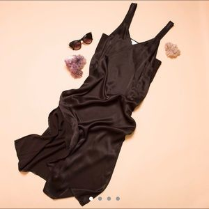 H&M black satin slip dress